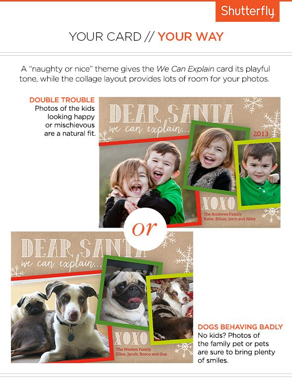 """A """"naughty or nice"""" theme gives this Christmas card it's playful tone. #HolidayCards #Holidays #Cards"""