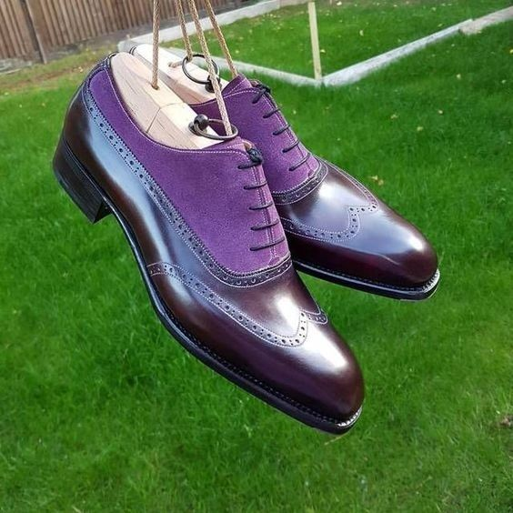 Handmade Men Purple brown Brogue Shoes, Oxford Formal Dress Suede & Leather Sh - Dress/Formal