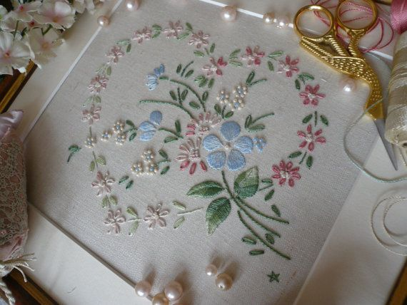 Transfered Embroidery Kit: 'Sophie' (Pink) Lovely Sampler! Beautiful Kits By Maggie Gee Needlework Studio