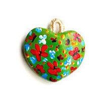 Red Heart PendantHandmade PendantCold Clay Flower Heart by WowOne