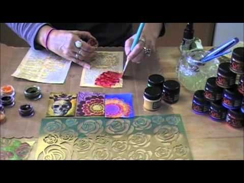 Introducing Silks By LuminArte---a quick tutorial showing how to create resist patterns using Stencils by creative Imaginations, Silks by Luminarte and the ever fabulous Twinkling H2O's