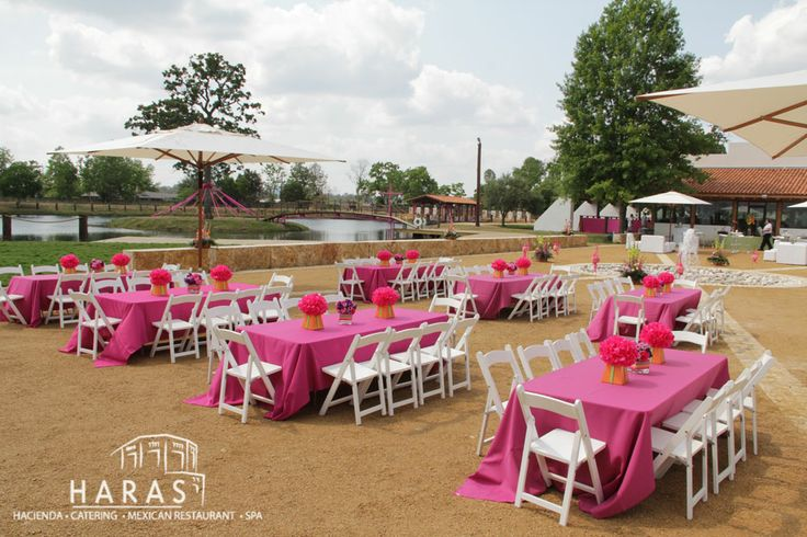 Pink setup in the plaza