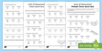 Units of Measurement Multiple Choice Quick Quiz Activity Sheet - ACMMG108, maths quiz, quick quiz, multiple choice quiz, units of measurement, measurement quiz, unit