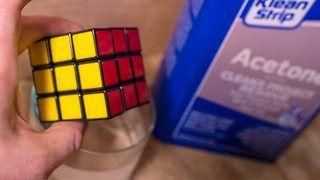 Putting a Rubik's Cube & Lego bricks in Acetone. What Happens? - Video