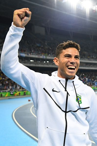 Brazil's Thiago Braz Da Silva celebrates after setting a new Olympic record and…