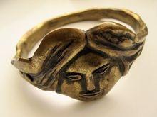 Vintage Finland Eila Minkkinen Bronze Face Bangle Bracelet
