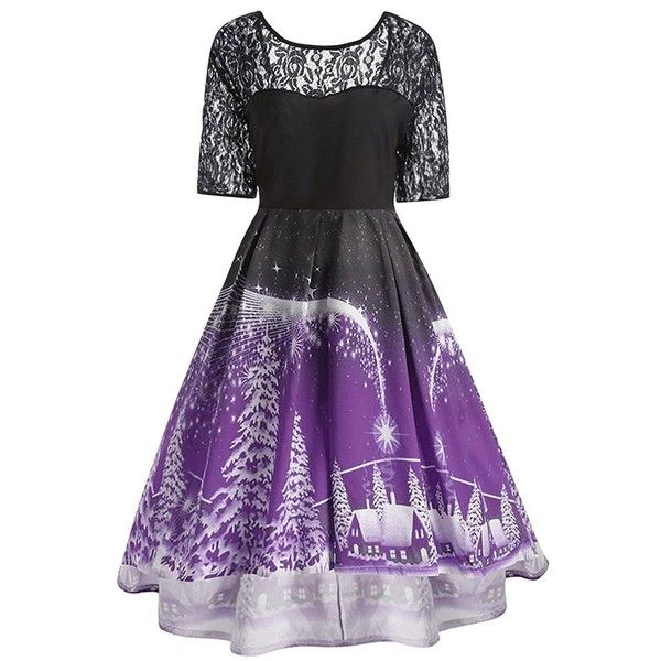 CharMma Women's Plus Size Vintage Christmas Round Neck Lace Panel... ($29) ❤ liked on Polyvore featuring dresses, round neckline dress, christmas day dress, plus size dresses, round neck dress and purple dresses