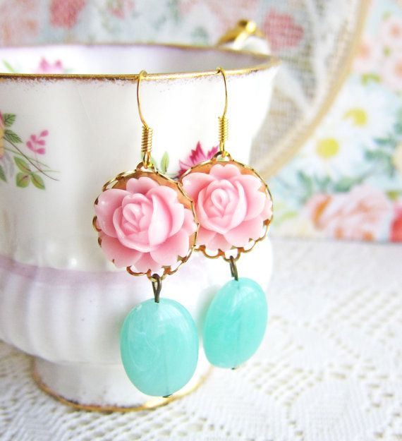 Pink Floral Earrings Pink Mint Green Gold Earrings by Jewelsalem, $9.98