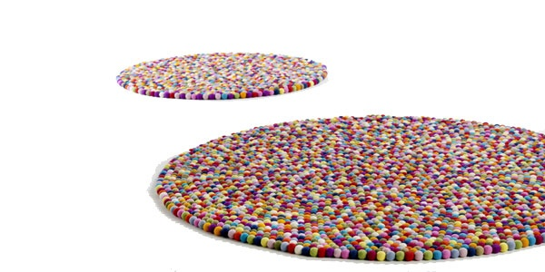 pinocchio multi color rug made of wool pom-poms