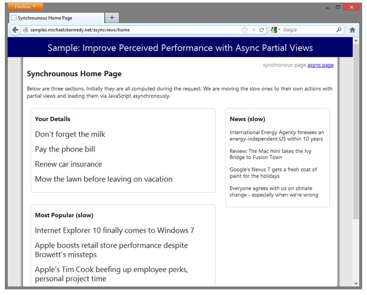 Improve perceived performance of ASP.NET MVC websites with asynchronous partial views