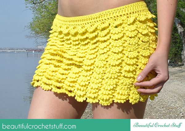 Layered Crochet Skirt Free Pattern. Make To Your Own Measurements. From http://beautifulcrochetstuff.com/layered-crochet-skirt-free-pattern/