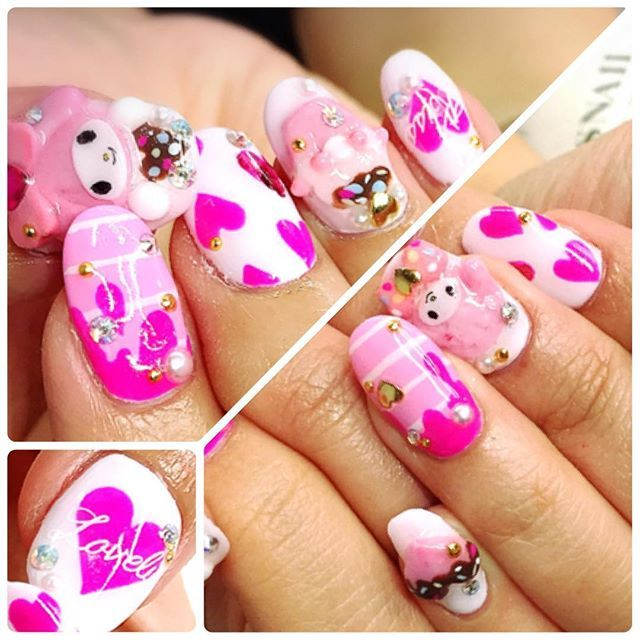 ... By Sanrio バレンタインマイメロちゃん◡̈♥ #nail #nailart #nails #beauty #paint  #gelnail #nailstagram #cute #pretty #girl #love #japan #kawaii #LA #usa ...
