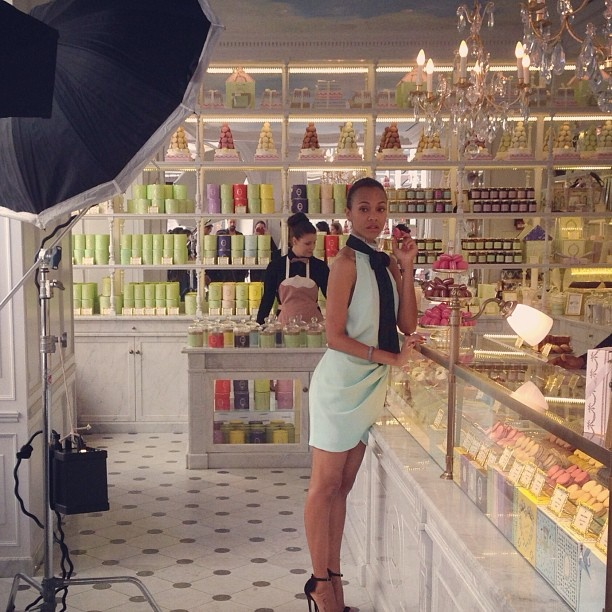 Zoe Saldana taste-tests some macarons at the famed shop Laduree in Cannes for her PEOPLE shoot. For more behind-the-scenes shots from Cannes, pick up this week's issue of PEOPLE (with Blake Shelton on the cover)!