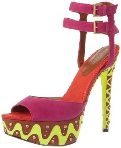 Color block high heel purple prom shoes 2014 with two ankle straps and brown-green platforms