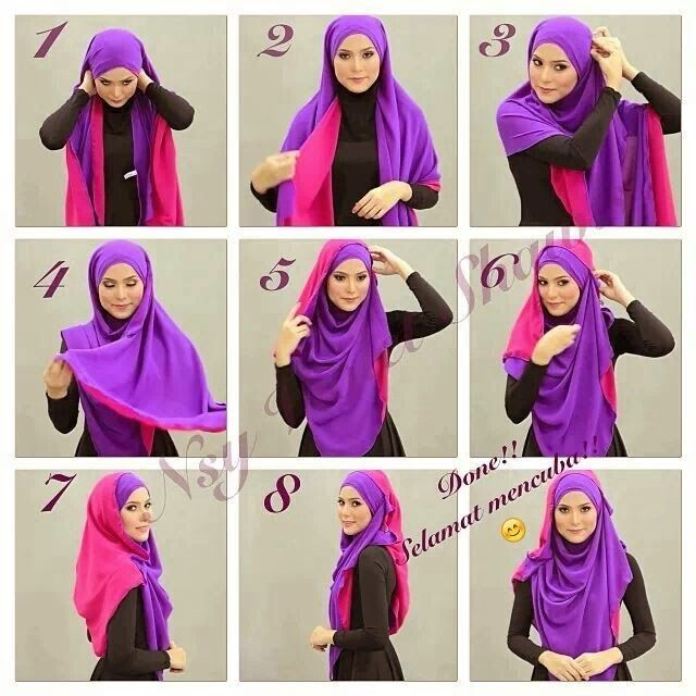 Two Colors Hijab Tutorial Style www.leilashijabs.com