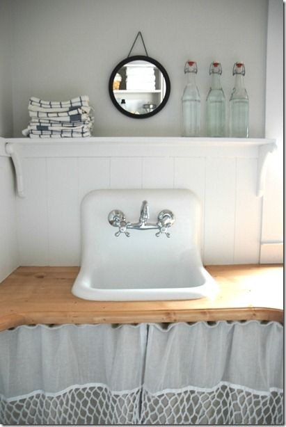 shelf/ledge over sink...hanging mirrorDecor, Small Laundry Room, Kids Bathroom, Laundry Rooms, Bathroom Ideas, Bathroom Sinks, Farmhouse Sinks, Laundry Room Sinks, Laundryroom