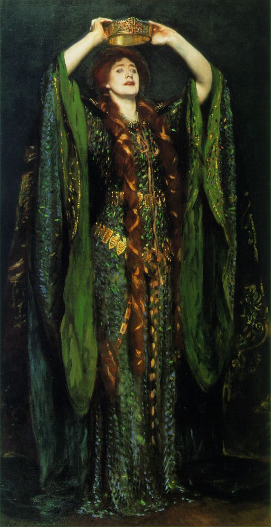 """""""Beetlewing dress"""" worn by Victorian actress Ellen Terry to play Lady Macbeth, painted by John Singer Sargeant"""