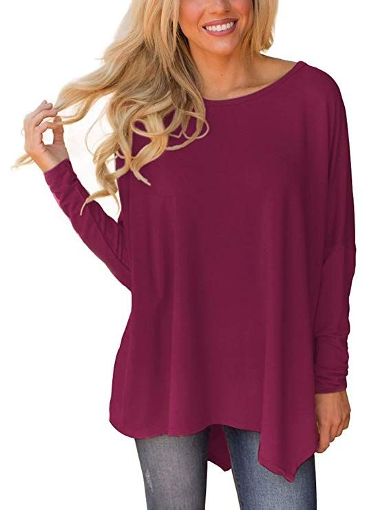 184889b5cdbda XUERRY Women Batwing Sleeve Pullover Dolman Tops Off Shoulder Loose  Blouses(A