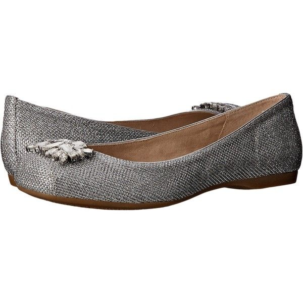 Jessica Simpson Mollins (Silver Jessica Sparkle Mesh) Women's Flat... ($50) ❤ liked on Polyvore featuring shoes, flats, grey, ballet flats, flat shoes, silver shoes, gray ballet flats and gray flats