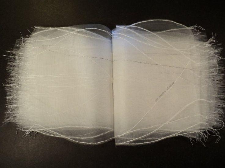 Dea C. Fischer | The voice of silence | 2012 7 x 7 x 1 inches (17.8 x 17.8 x 2.5 cm) Silk organza, silk thread, typed text; looping linkstitch, hand sewn