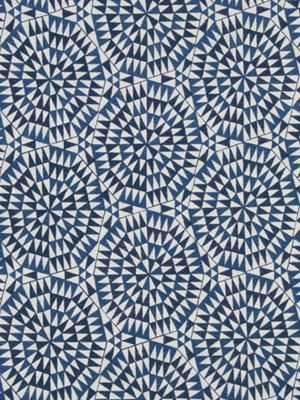 Modern Embroidered Upholstery Fabric - Blue Geometric Fabric Yardage