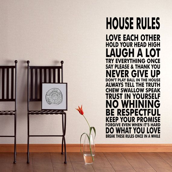 House Rules Vinyl Wall Decal Sticker We Do Art Vinyl by HappyWallz, $39.99