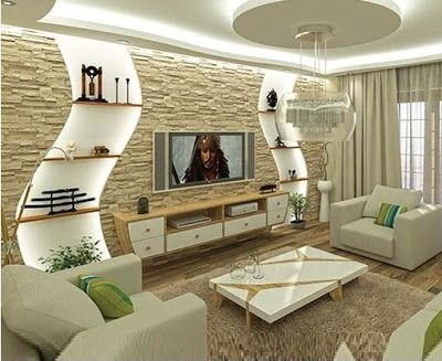 gypsum board tv wall design catalogue with LED lights for ...