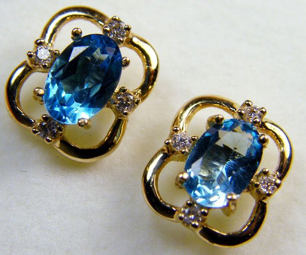 BEAUTIFUL BLUE TOPAZ  14 K GENUINE DIAMONDS  EAR    MY 911  NATURAL TOPAZ GEMSTONE EARRINGS GEMSTONE  , FROM GEMROCKAUCTIONS.COM