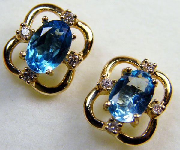 BEAUTIFUL BLUE TOPAZ  14 K GENUINE DIAMONDS  EAR    MY 911  NATURAL TOPAZ GEMSTONE EARRINGS GEMSTONE  , FROM GEMROCKAUCTIONS.COM
