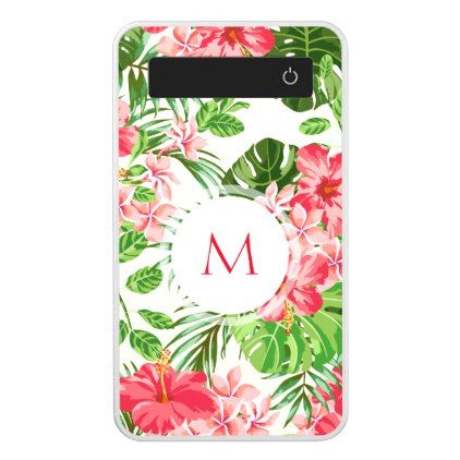 #Pink Hibiscus Flower Tropical Palm Monogram PowerB Power Bank - #floral #gifts #flower #flowers