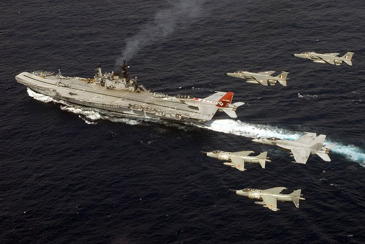 INS Viraat with Sea Harriers, Jaguars, F/A-18F