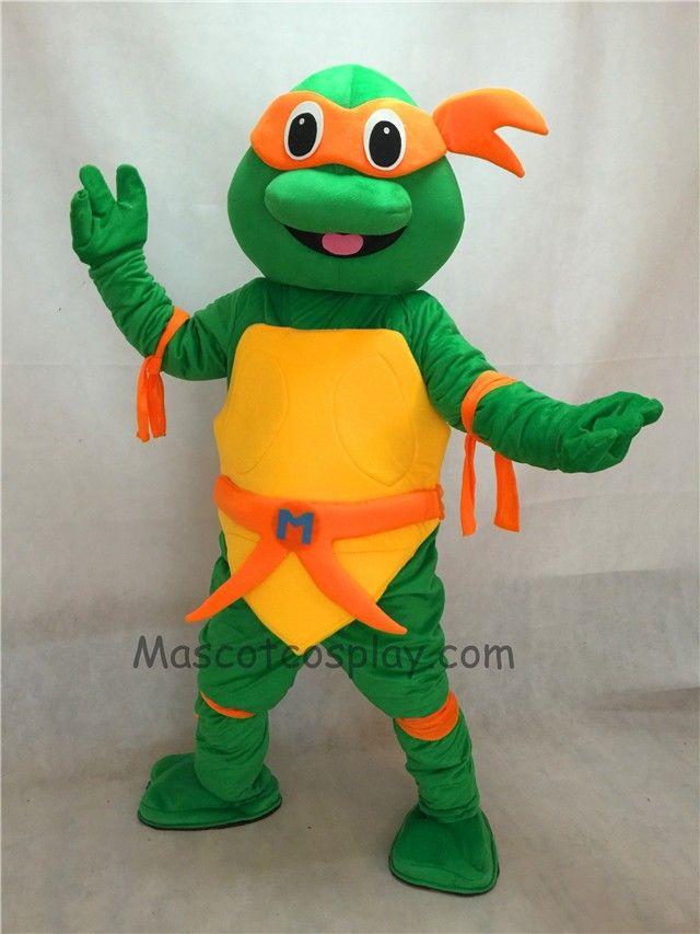 Orange TMNT Teenage Mutant Ninja Turtle Mascot Costume Adult Character Halloween Party Carnival Costume