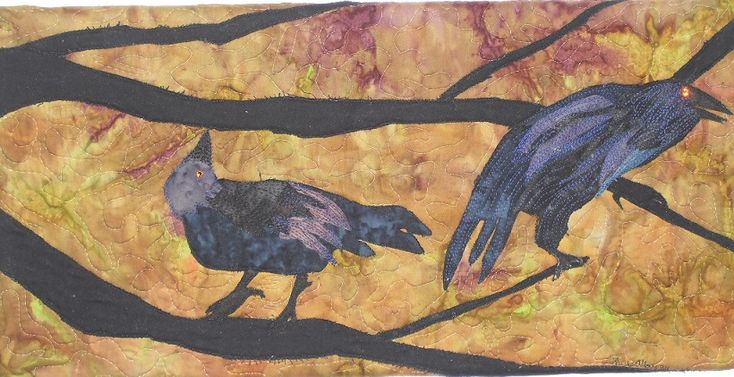 2 Old Crows, fabric collage, thread painted.  For sale by Chris Allaway