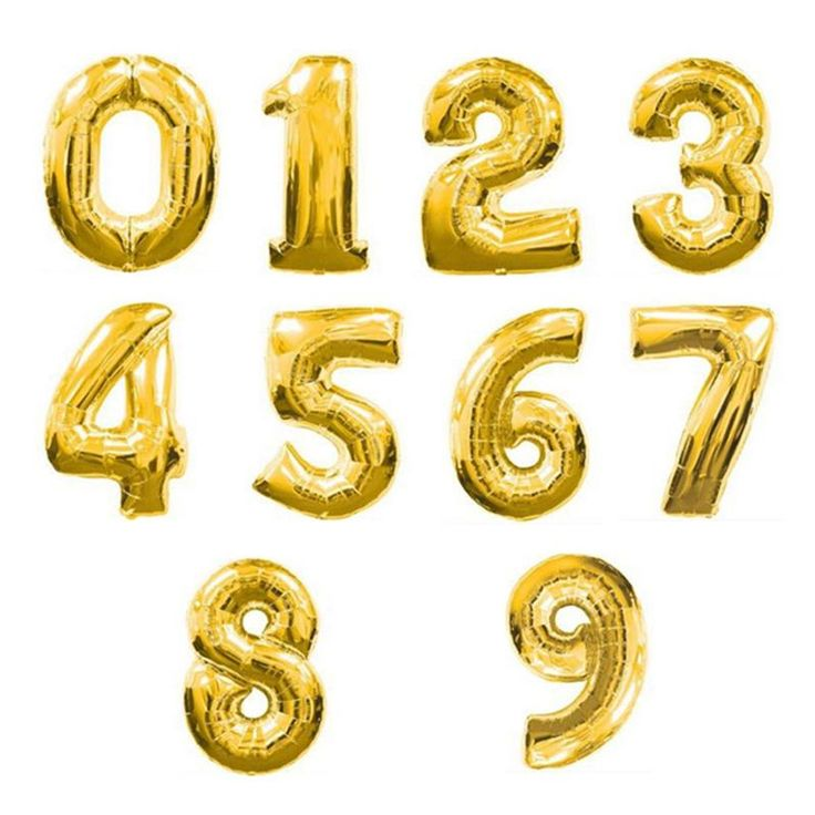 [!] 32 Inch 0-9 Number Aluminum Foil Gold Balloon Big Size Helium Balloons Birthday Wedding Party Decoration Celebration Supplies ใหม ซอวนน