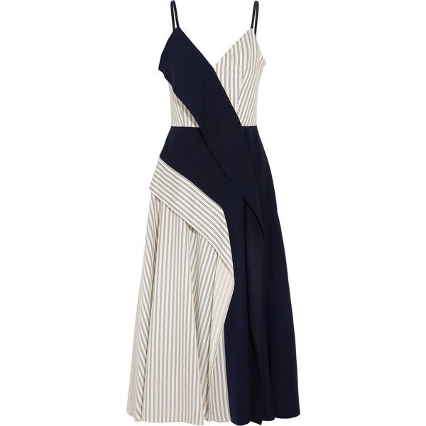 Adeam Paneled striped twill and crepe midi dress (£930) ❤ liked on Polyvore featuring dresses, vestidos, navy striped dress, kimono dress, white asymmetrical dress, midi dress and cowgirl dresses
