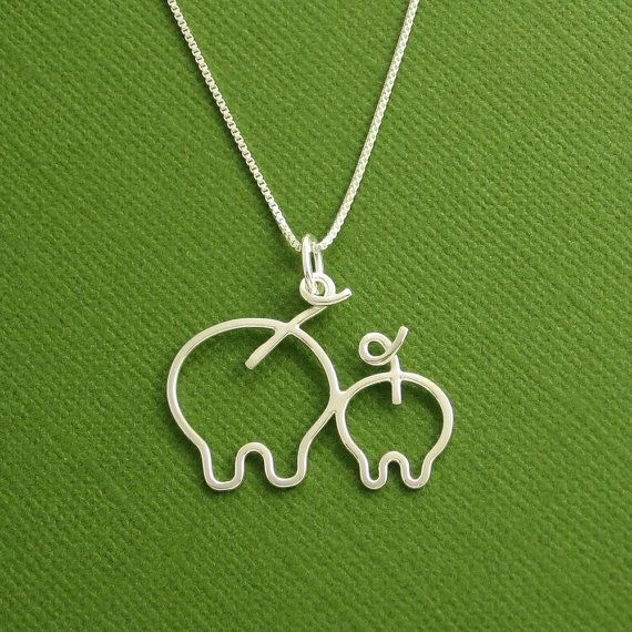 Pig Necklace, Mother and Piglet, Mother and Baby, Sterling Silver, Made To Order on Etsy, $65.00