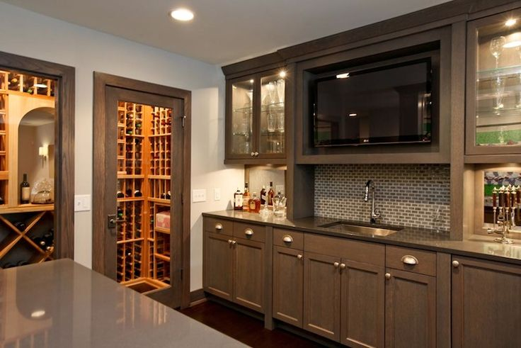 Refined LLC - kitchens - wine room, bar, gray, kitchen cabinets, gray, quartz, countertops, mini-subway tiles, backsplash, TV, wet bar design, wet bar,
