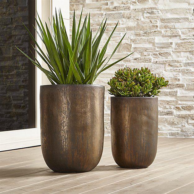 Metallic Bronze Small Planter | Crate and Barrel