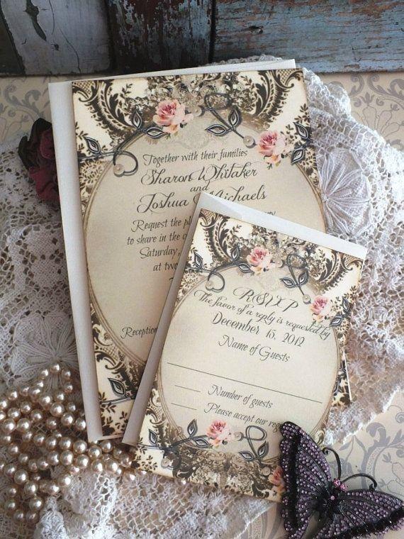 Винтажные свадебные приглашения с цветочными мотивами.    #wedding #bride #flowers