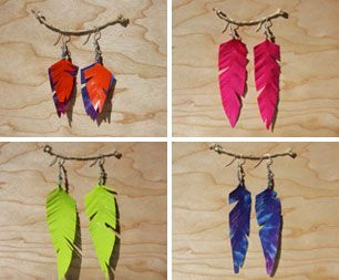 feather earrings made out of duct tape ...