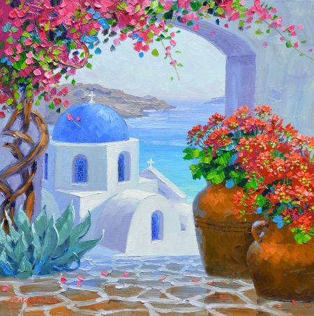 Splendor of Santorini -Mikki Senkarik- original oil panting