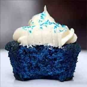 Blue velvet cupcakes  One box of white cake mix, substitute butter for oil and double the amount, add one extra egg than box recipe calls for, use milk instead of water, add to tbs cocoa powder, & 2oz royal blue gel food coloring