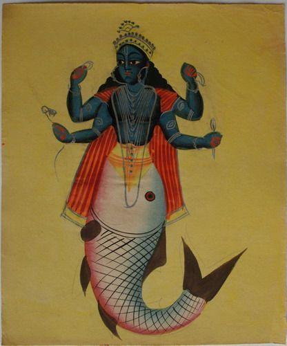 Mermaids Fish, Quarter 19Th, Indian, Avatar, Kalighat Painting, 3Rd Quarter, Miniature