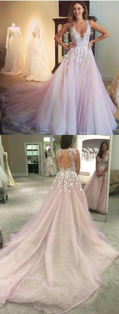 A-line Wedding Dress,V-neck wedding dresses,Light Pink Flower Appliqued Tulle Wedding Dress