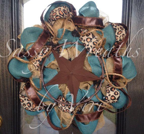 Western Star Burlap and Turquoise Wreath by SassyWreathsByViri, $70.00