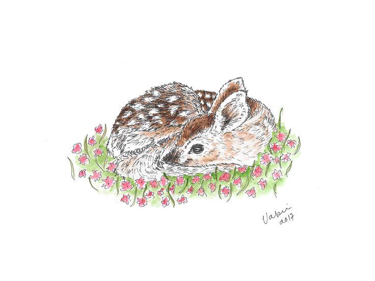 Baby deer. Tools used Winsor & Newton watercolors and Staedtler pigment liners