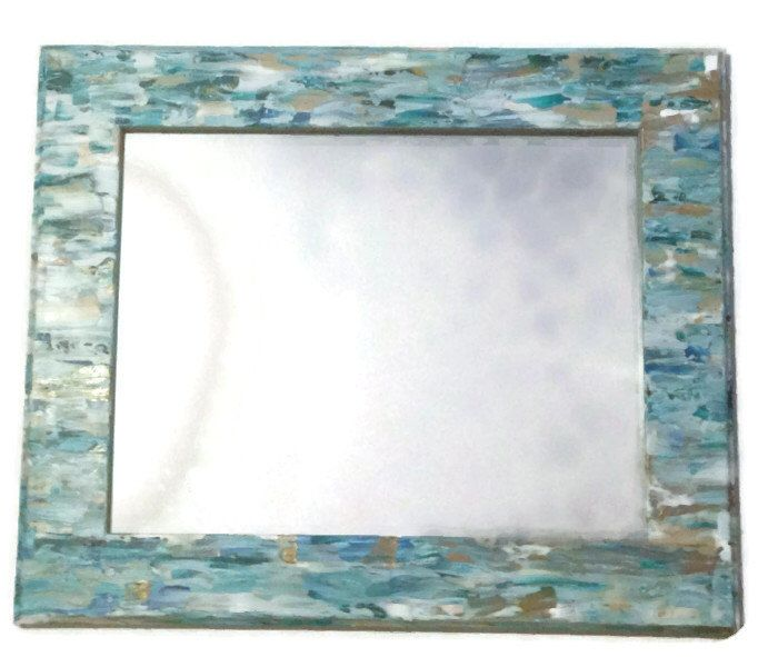 Seaglass Inspired Beach Mirror, Mosaic Style Mirror, Hanging Turquoise  Mirror, Decorative Bathroom Mirror. Teal Mirror