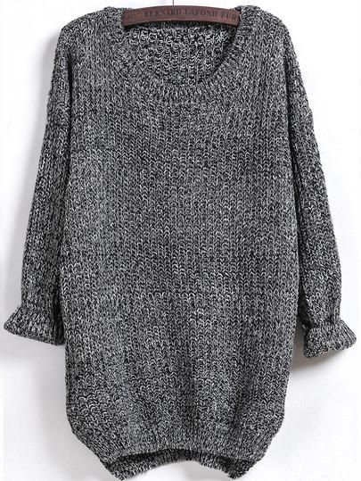 fall sweater, oversized loose sweater, dipped hem charcoal sweater, grey sweater - Crystalline
