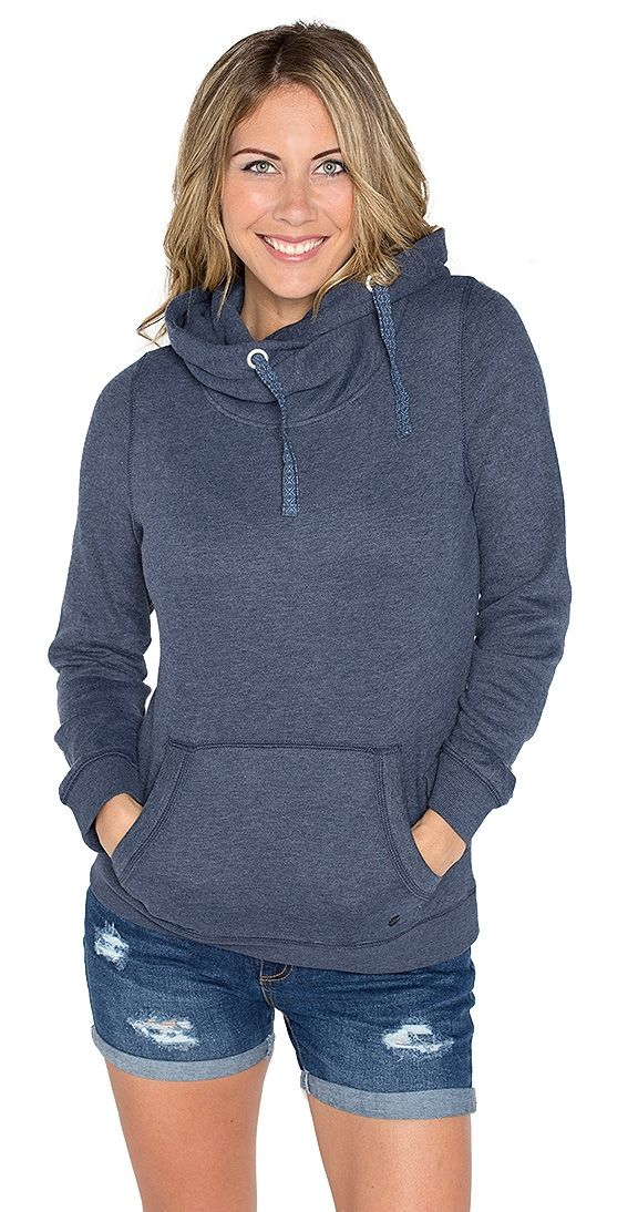 """Blue Bayou Hoodie - Once you put this hoodie on you will never take it off! The ultimate softness is achieved with a Cotton/Poly blend. The inside of this piece is so fuzzy and warm, perfect for cooler evenings. Luxury details like metal grommets and a patterned drawstring on the hood, the Blue Bayou Hoodie has it all....style and substance.  Model is wearing a S Long sleeve Front pocket Metal grommet and patterned drawstring on hood Lined hood Approx 26"""" long fr shoulder to hem 60% Cotton…"""