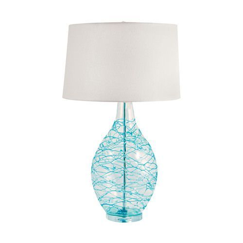 The 25 best blue table lamp ideas on pinterest glass table blown glass lamp with blue sea swirls mozeypictures Choice Image